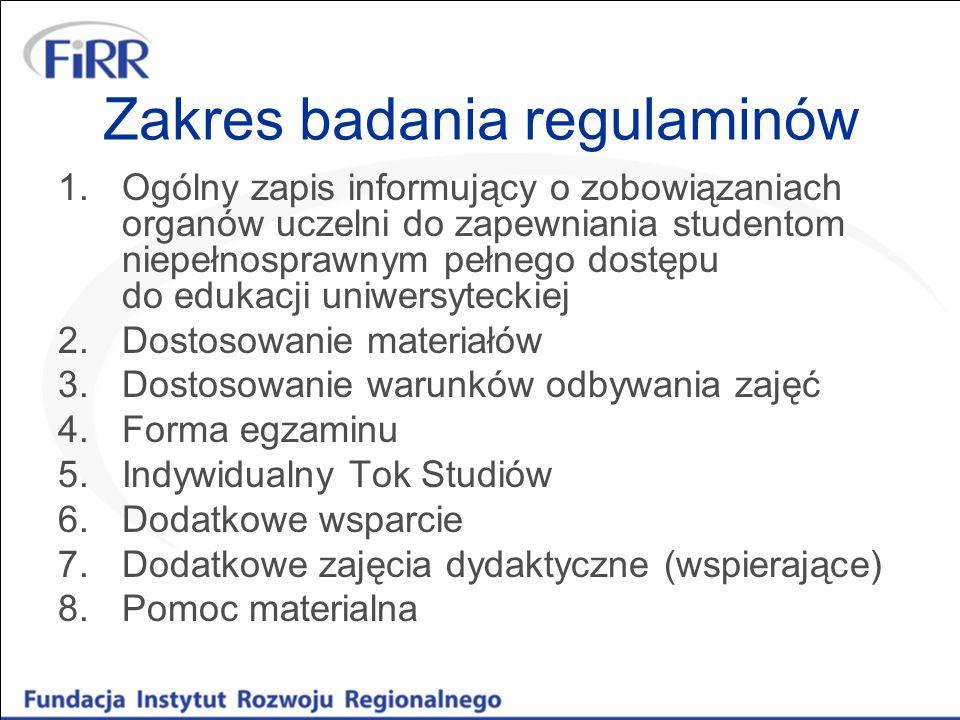 Zakres badania regulaminów