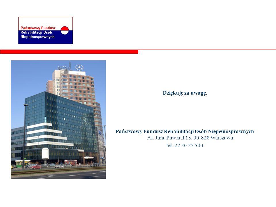 Dziękuję za uwagę.Państwowy Fundusz Rehabilitacji Osób Niepełnosprawnych Al. Jana Pawła II 13, 00-828 Warszawa.