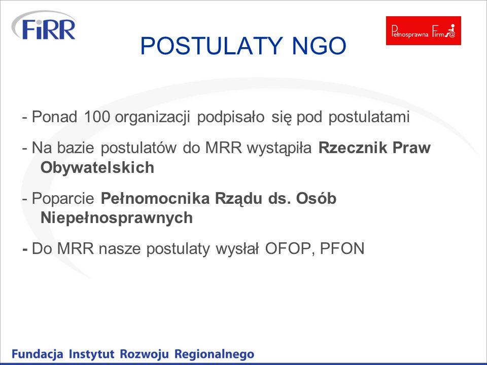 POSTULATY NGO - Ponad 100 organizacji podpisało się pod postulatami