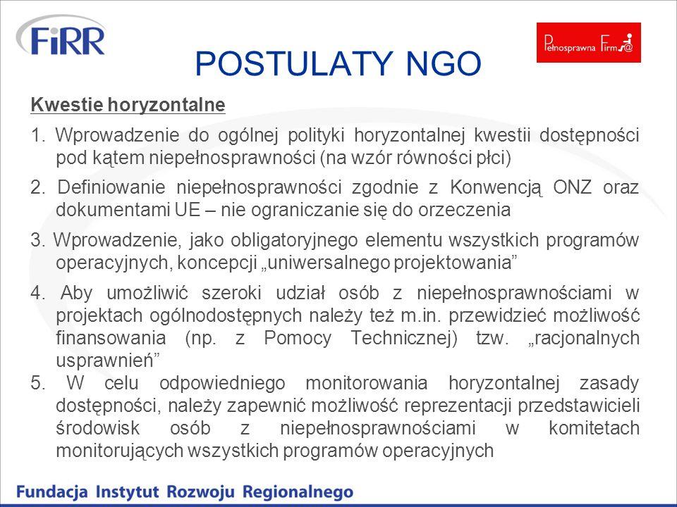 POSTULATY NGO Kwestie horyzontalne