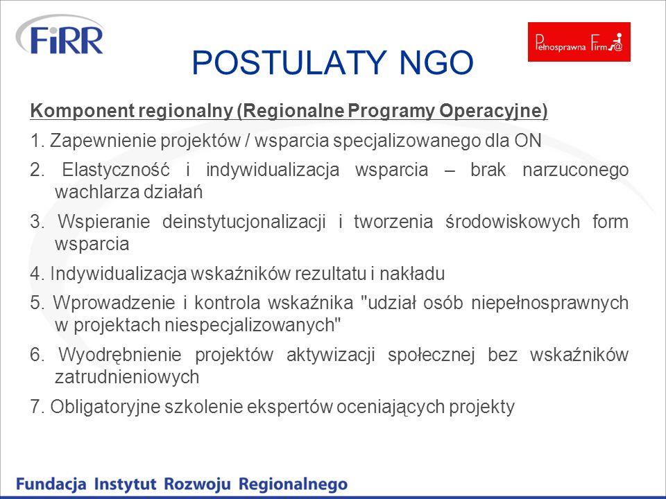 POSTULATY NGO Komponent regionalny (Regionalne Programy Operacyjne)