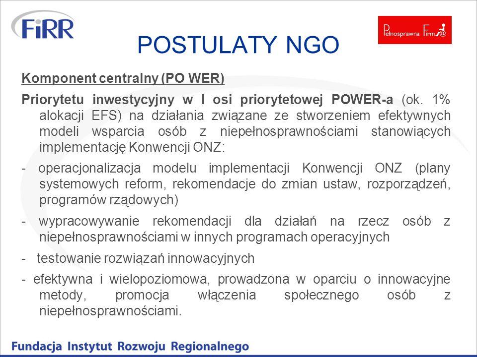 POSTULATY NGO Komponent centralny (PO WER)