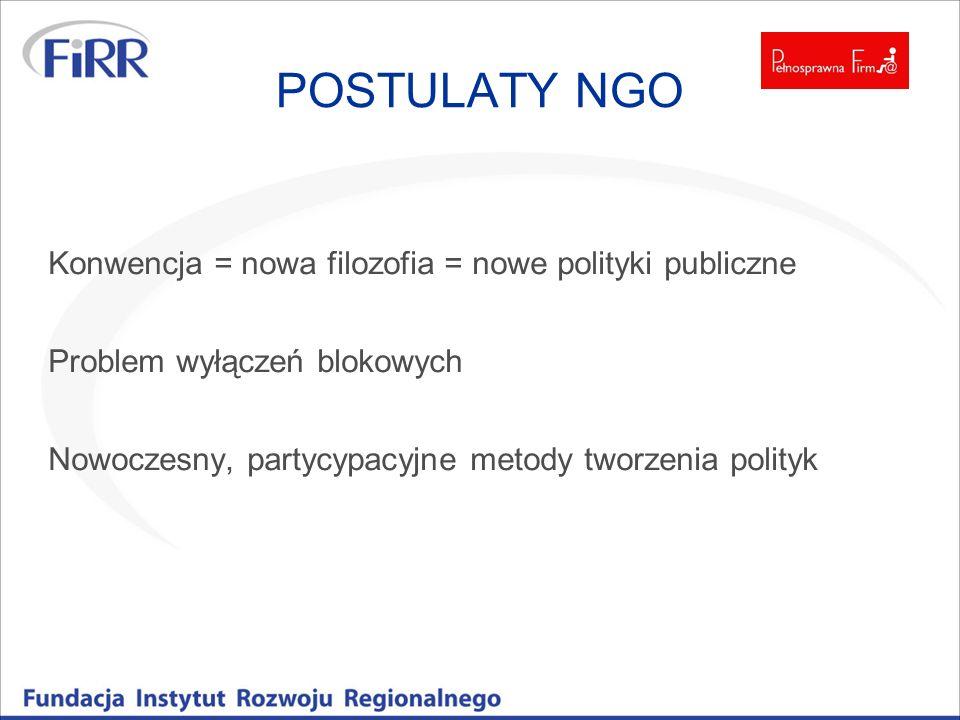 POSTULATY NGO Konwencja = nowa filozofia = nowe polityki publiczne