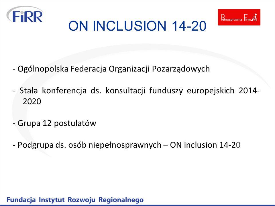 ON INCLUSION 14-20 - Ogólnopolska Federacja Organizacji Pozarządowych