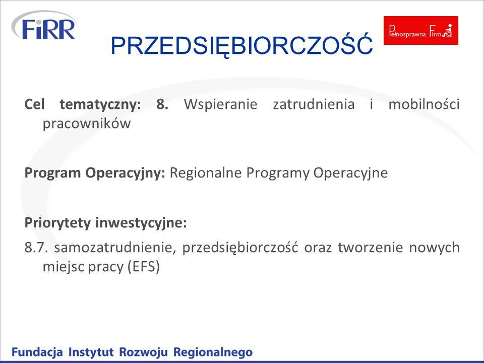 PRZEDSIĘBIORCZOŚĆ Cel tematyczny: 8. Wspieranie zatrudnienia i mobilności pracowników. Program Operacyjny: Regionalne Programy Operacyjne.