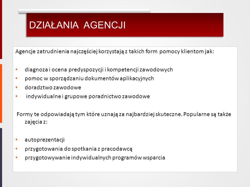 DZIAŁANIA AGENCJI Agencje zatrudnienia najczęściej korzystają z takich form pomocy klientom jak: