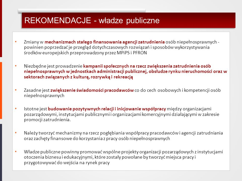 REKOMENDACJE - władze publiczne