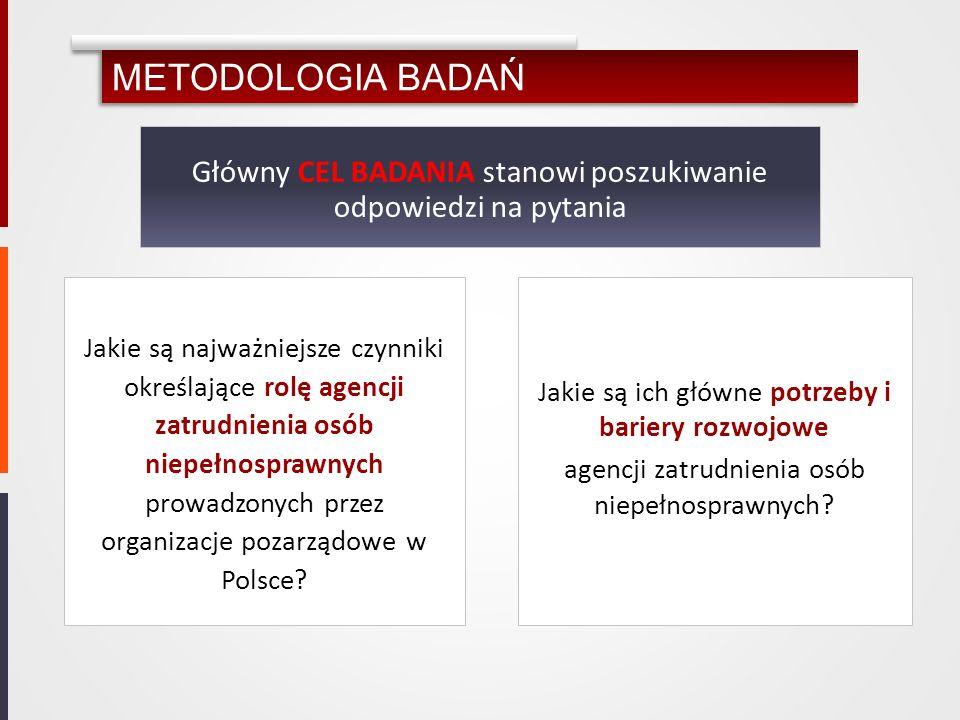 METODOLOGIA BADAŃ Główny CEL BADANIA stanowi poszukiwanie odpowiedzi na pytania.
