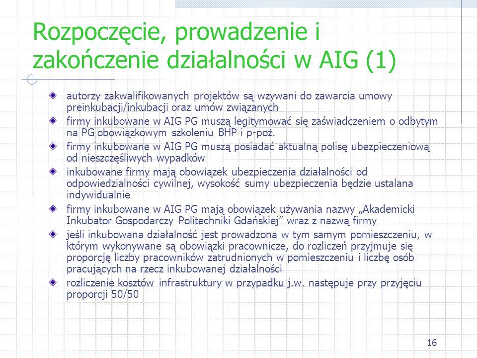 Rozpoczęcie, prowadzenie i zakończenie działalności w AIG (1)