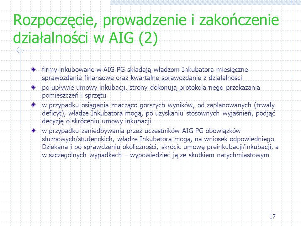 Rozpoczęcie, prowadzenie i zakończenie działalności w AIG (2)
