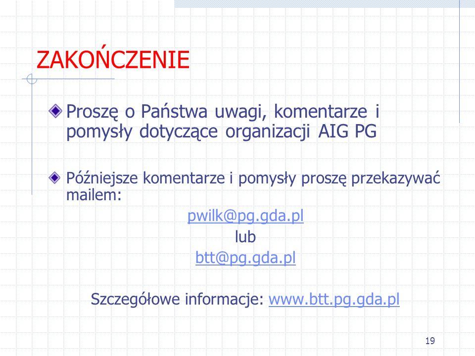 Szczegółowe informacje: www.btt.pg.gda.pl