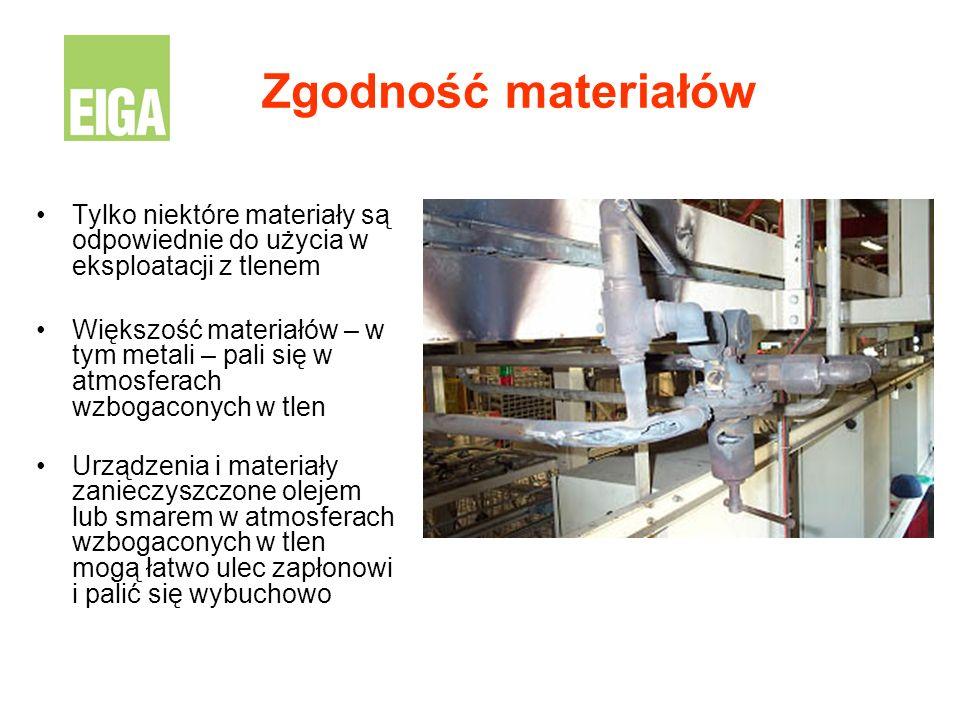 Zgodność materiałów Tylko niektóre materiały są odpowiednie do użycia w eksploatacji z tlenem.