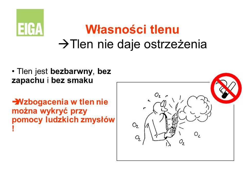 Własności tlenu Tlen nie daje ostrzeżenia
