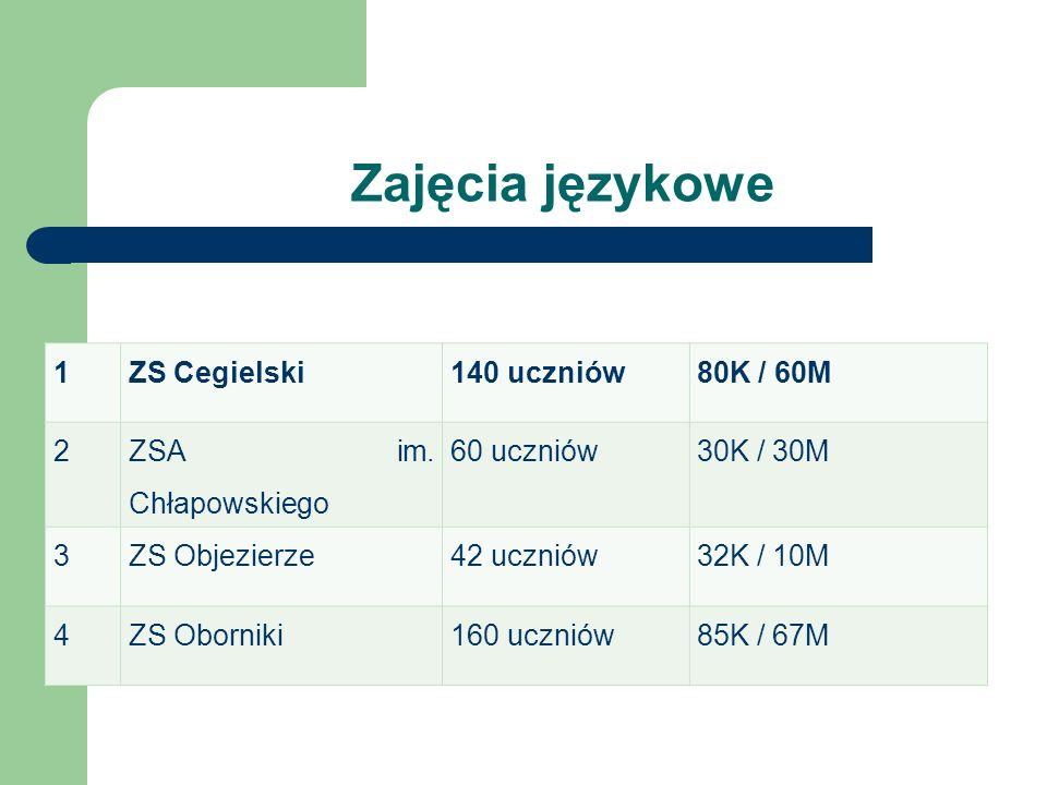 Zajęcia językowe 1 ZS Cegielski 140 uczniów 80K / 60M 2