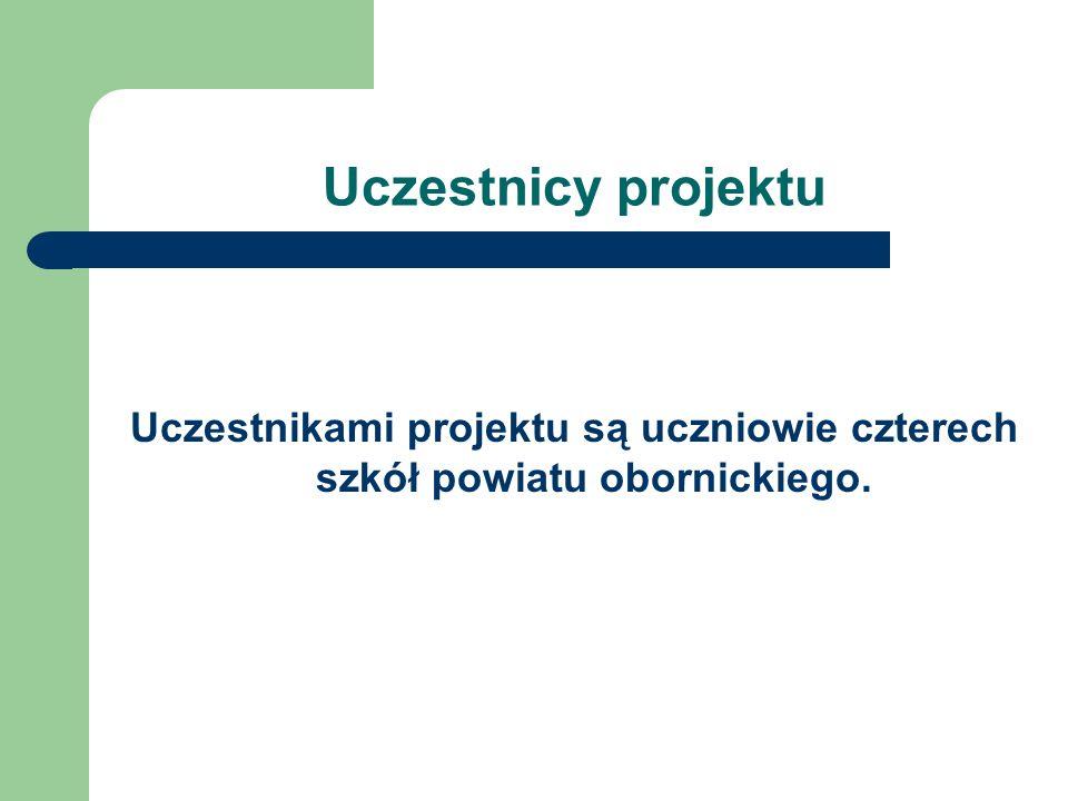 Uczestnicy projektu Uczestnikami projektu są uczniowie czterech szkół powiatu obornickiego.
