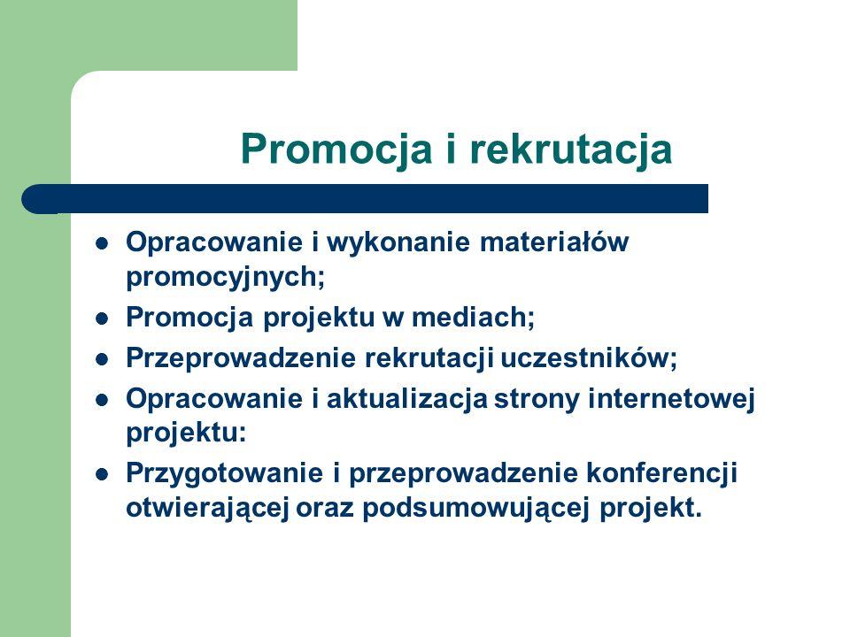 Promocja i rekrutacja Opracowanie i wykonanie materiałów promocyjnych;