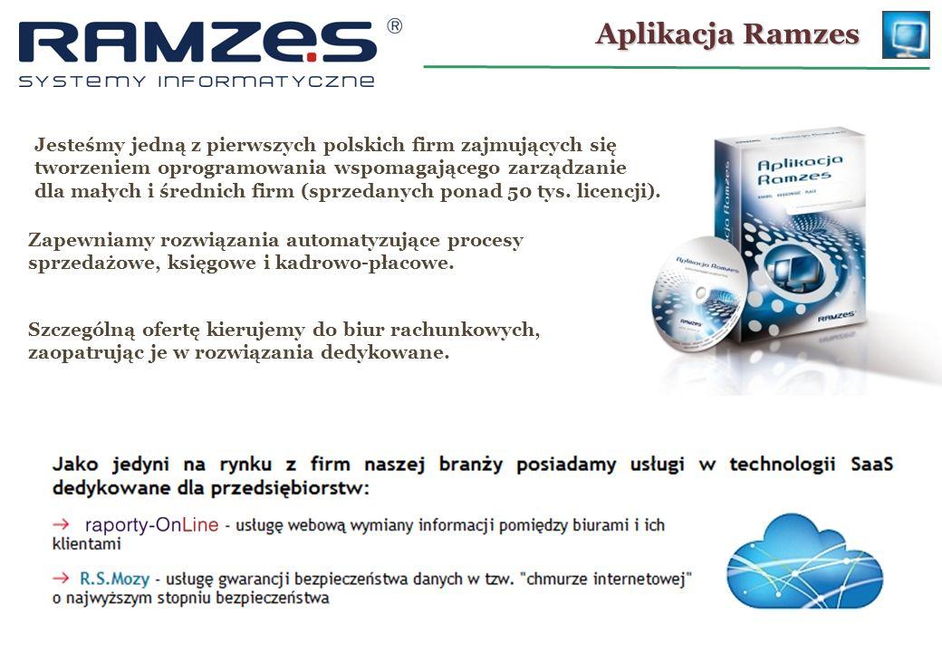 Aplikacja Ramzes Jesteśmy jedną z pierwszych polskich firm zajmujących się tworzeniem oprogramowania wspomagającego zarządzanie.