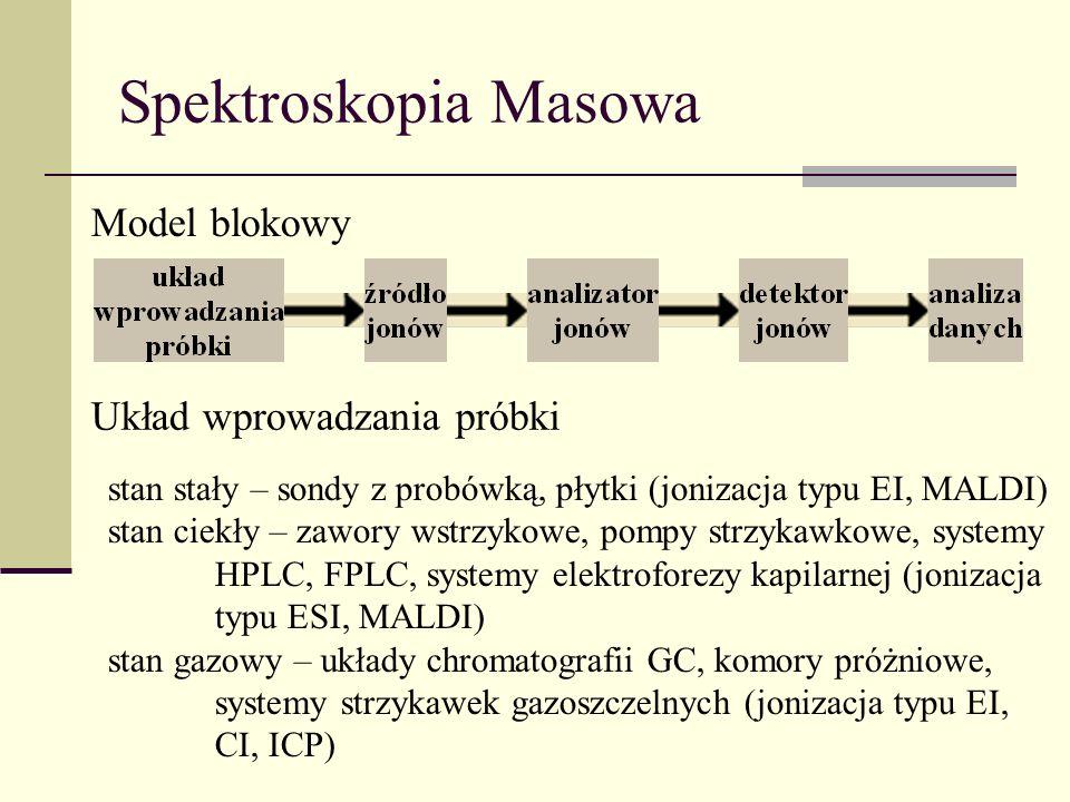 Spektroskopia Masowa Model blokowy Układ wprowadzania próbki