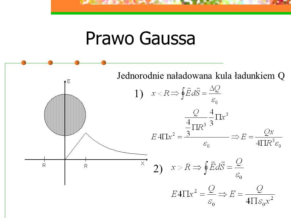 Prawo Gaussa Jednorodnie naładowana kula ładunkiem Q 1) 2)
