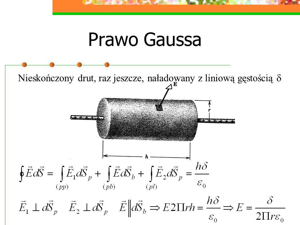 Prawo Gaussa Nieskończony drut, raz jeszcze, naładowany z liniową gęstością 