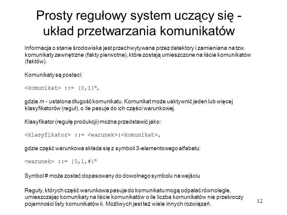 Prosty regułowy system uczący się - układ przetwarzania komunikatów