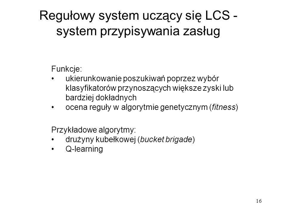 Regułowy system uczący się LCS - system przypisywania zasług