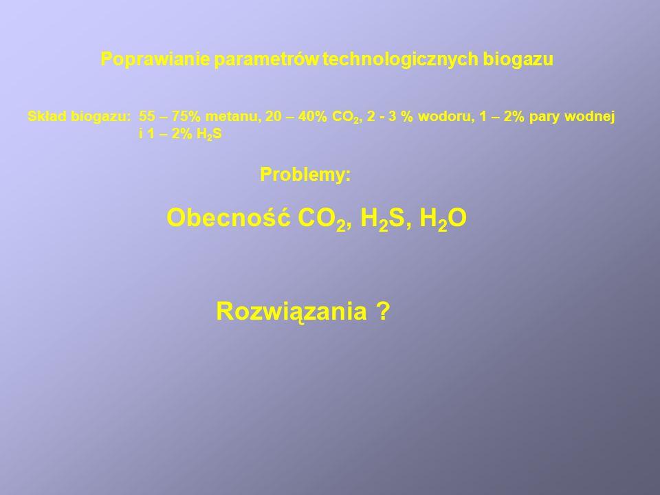 Obecność CO2, H2S, H2O Rozwiązania