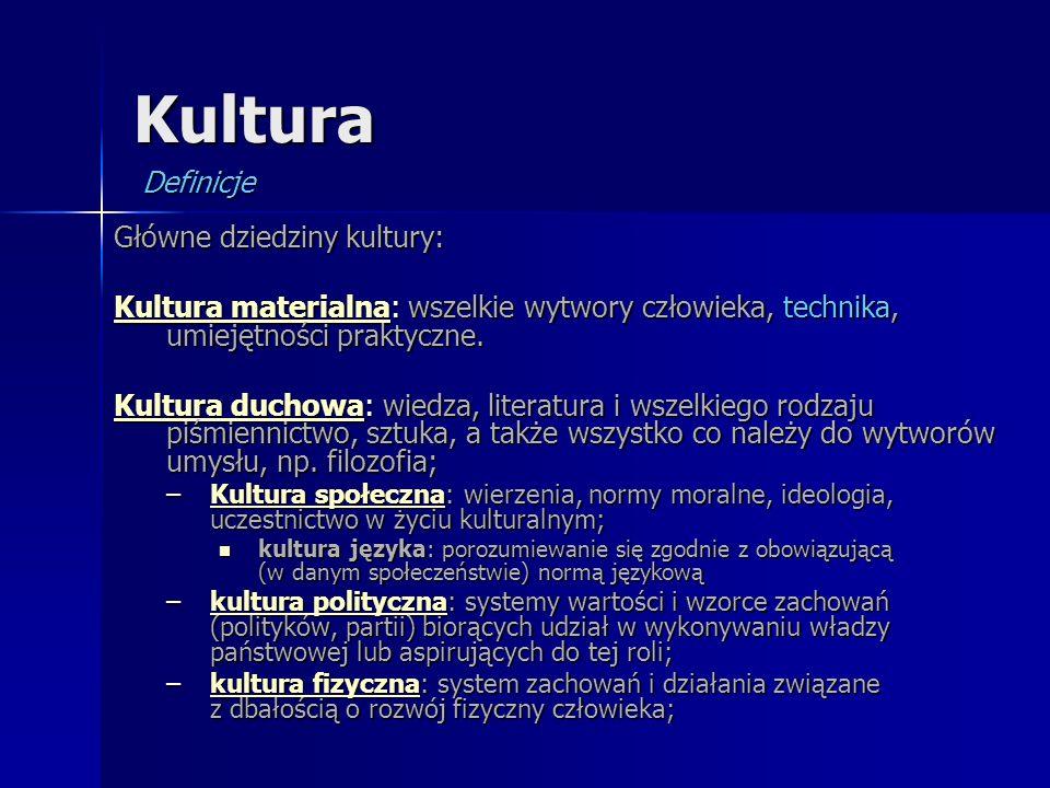 Kultura Definicje Główne dziedziny kultury: