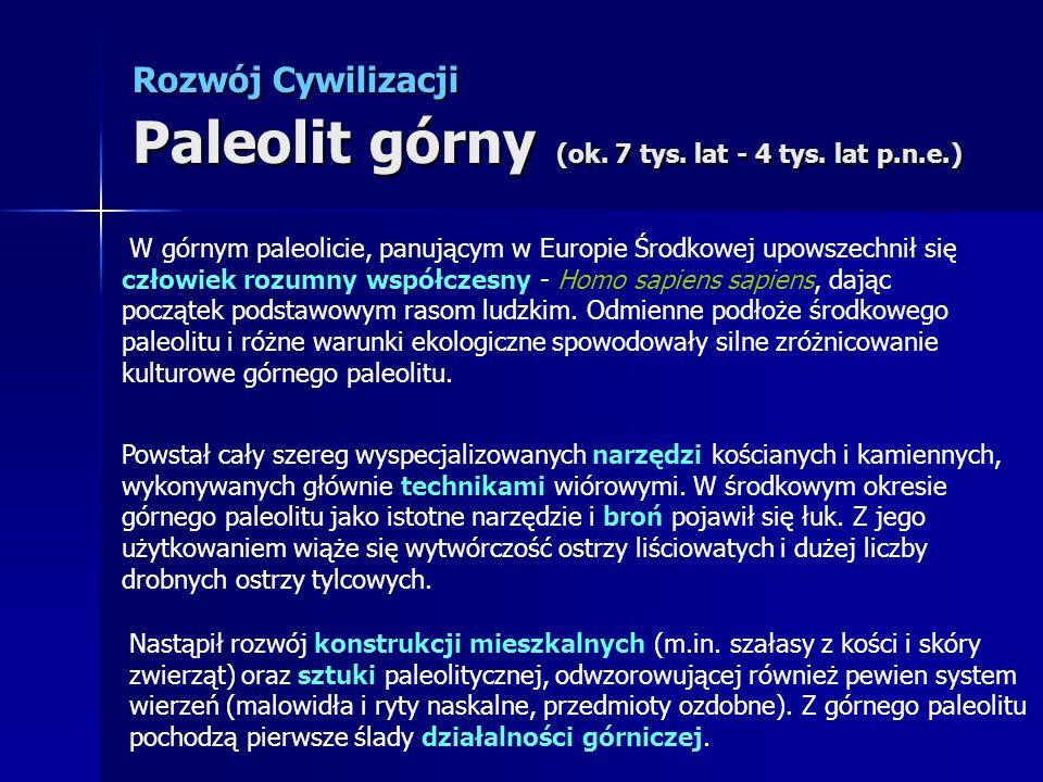 Rozwój Cywilizacji Paleolit górny (ok. 7 tys. lat - 4 tys. lat p.n.e.)