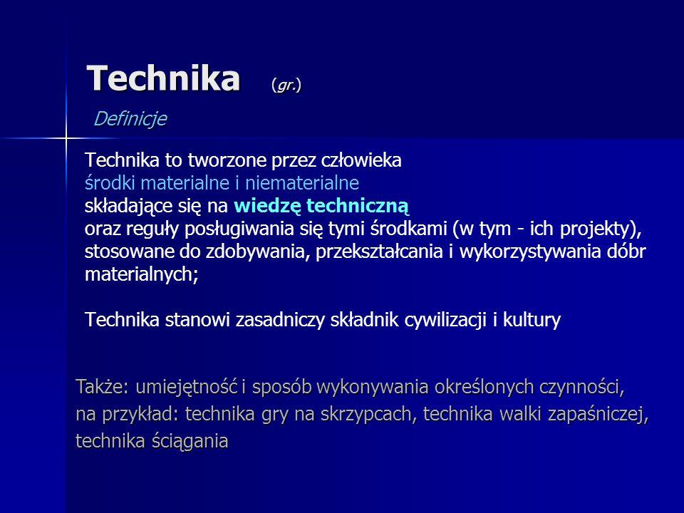 Technika (gr.) Definicje Technika to tworzone przez człowieka