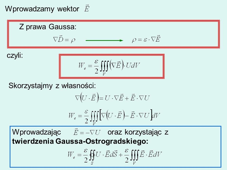 Wprowadzamy wektor Z prawa Gaussa: czyli: Skorzystajmy z własności: