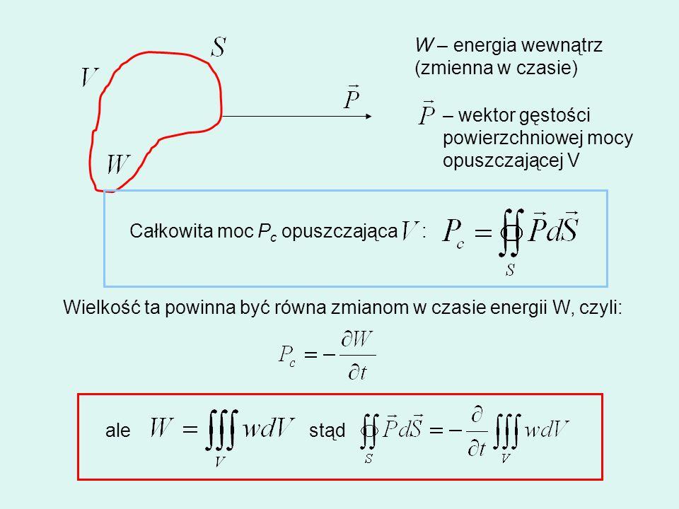 W – energia wewnątrz(zmienna w czasie) – wektor gęstości. powierzchniowej mocy. opuszczającej V. Całkowita moc Pc opuszczająca :