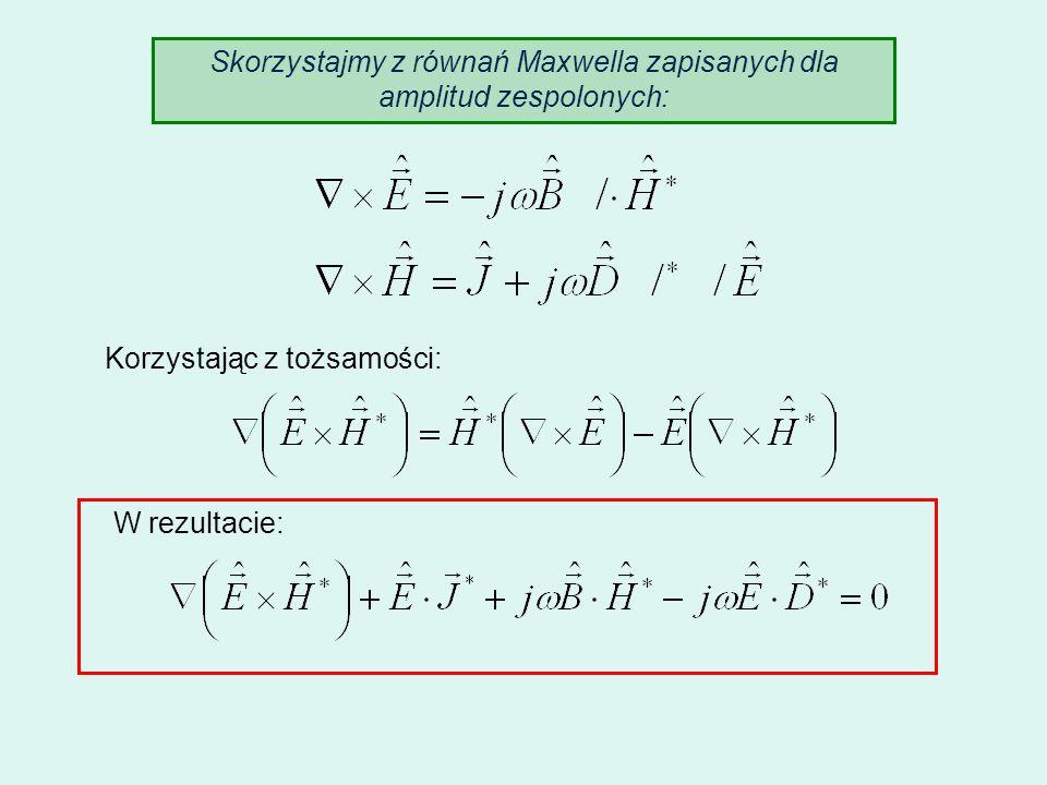 Skorzystajmy z równań Maxwella zapisanych dla amplitud zespolonych: