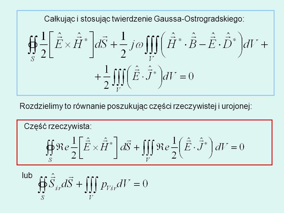 Całkując i stosując twierdzenie Gaussa-Ostrogradskiego:
