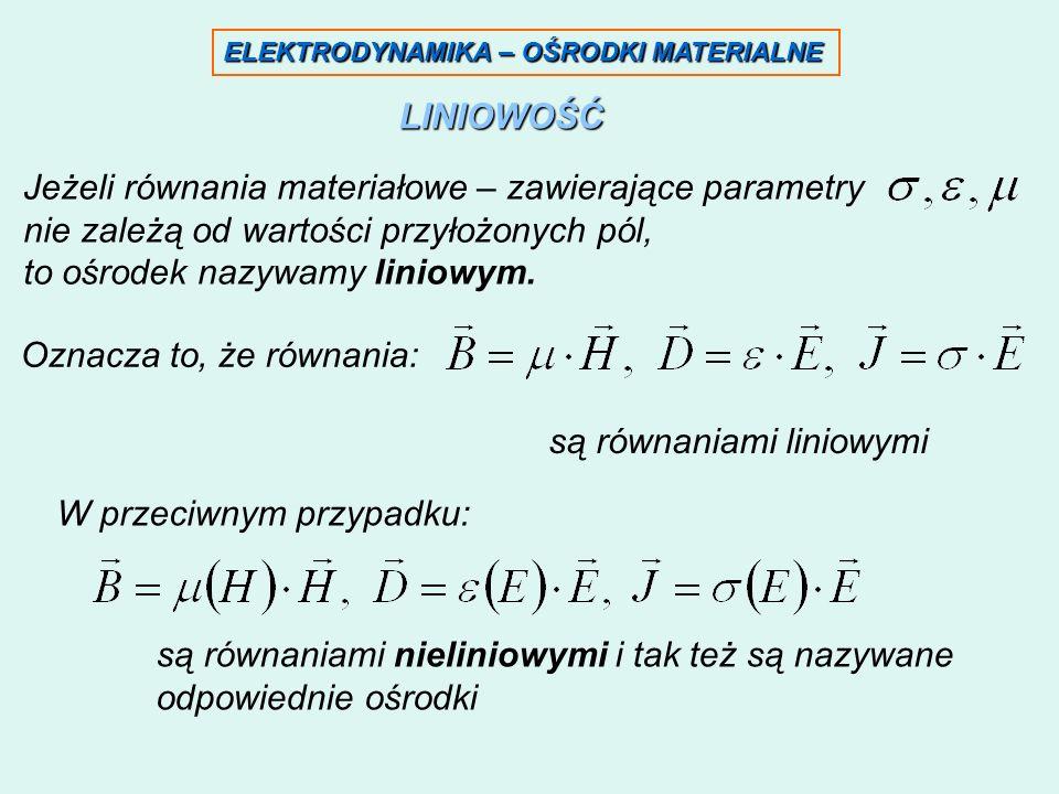 Jeżeli równania materiałowe – zawierające parametry
