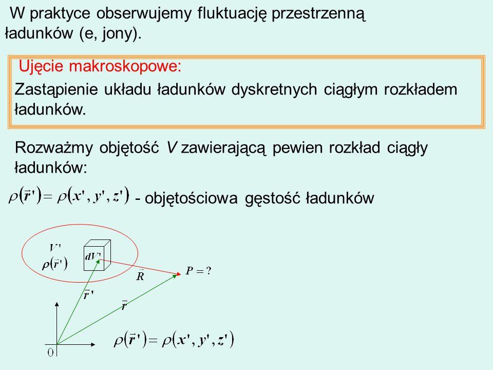 W praktyce obserwujemy fluktuację przestrzenną ładunków (e, jony).