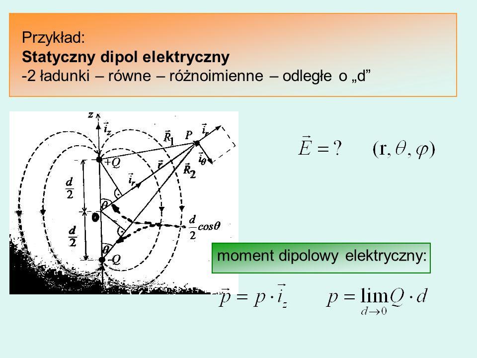 Przykład: Statyczny dipol elektryczny.