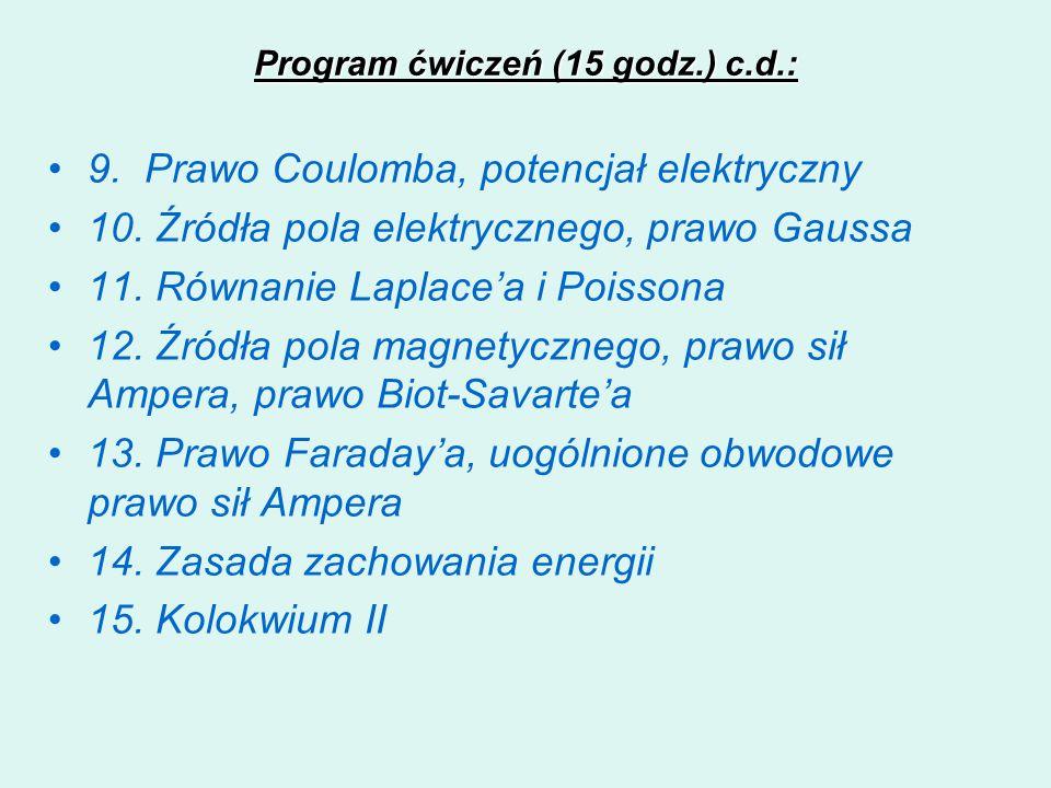 Program ćwiczeń (15 godz.) c.d.:
