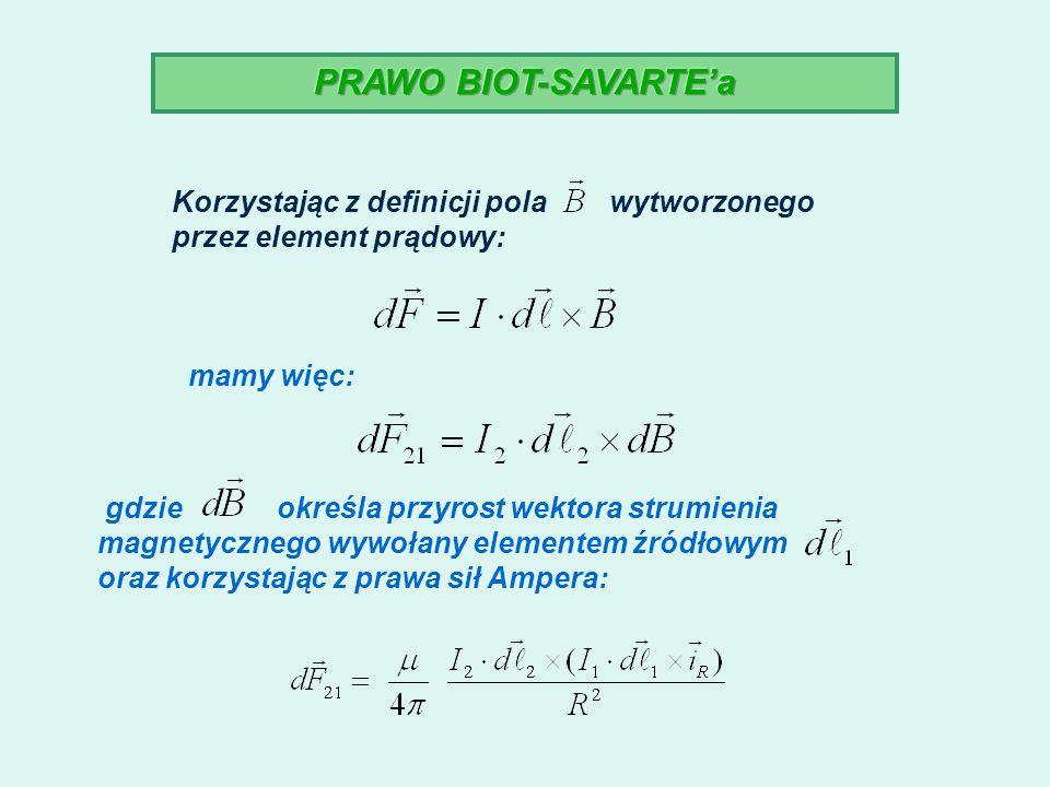 PRAWO BIOT-SAVARTE'a Korzystając z definicji pola wytworzonego przez element prądowy: mamy więc: