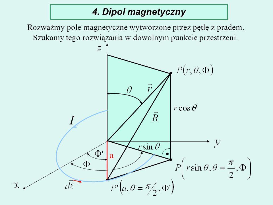 4. Dipol magnetycznyRozważmy pole magnetyczne wytworzone przez pętlę z prądem. Szukamy tego rozwiązania w dowolnym punkcie przestrzeni.