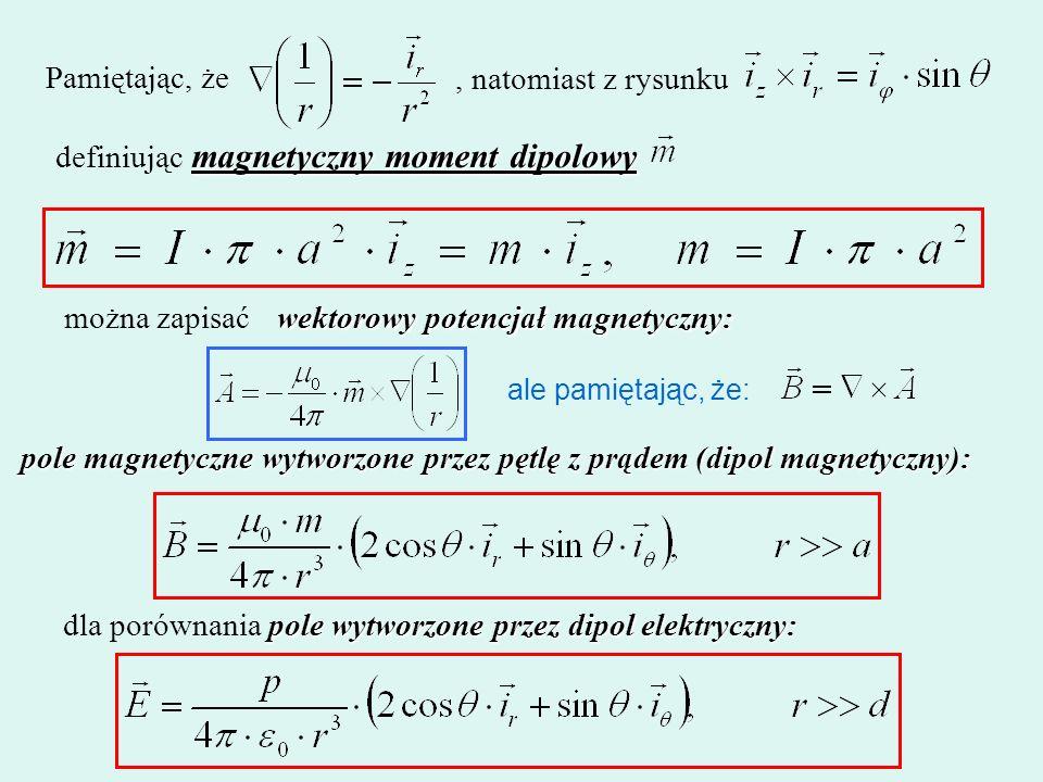 definiując magnetyczny moment dipolowy