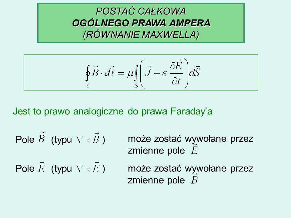 POSTAĆ CAŁKOWA OGÓLNEGO PRAWA AMPERA. (RÓWNANIE MAXWELLA) Jest to prawo analogiczne do prawa Faraday'a.