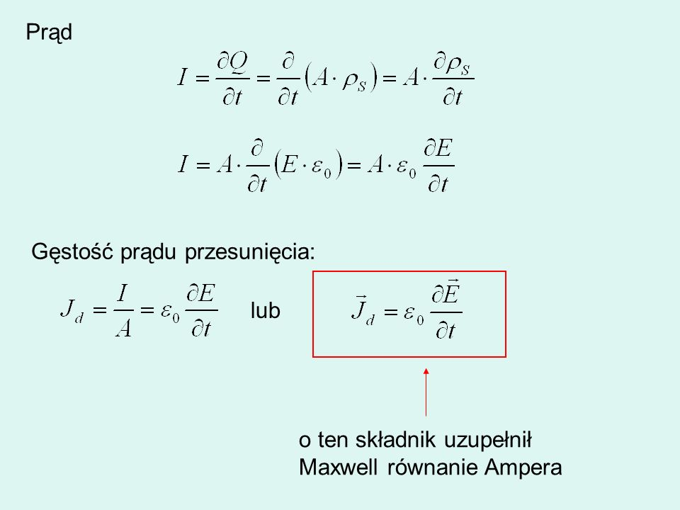 Prąd Gęstość prądu przesunięcia: lub o ten składnik uzupełnił Maxwell równanie Ampera