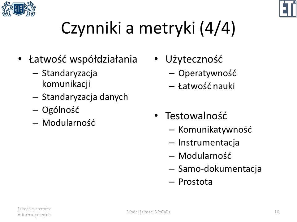 Czynniki a metryki (4/4) Łatwość współdziałania Użyteczność