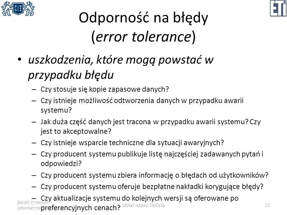 Odporność na błędy (error tolerance)