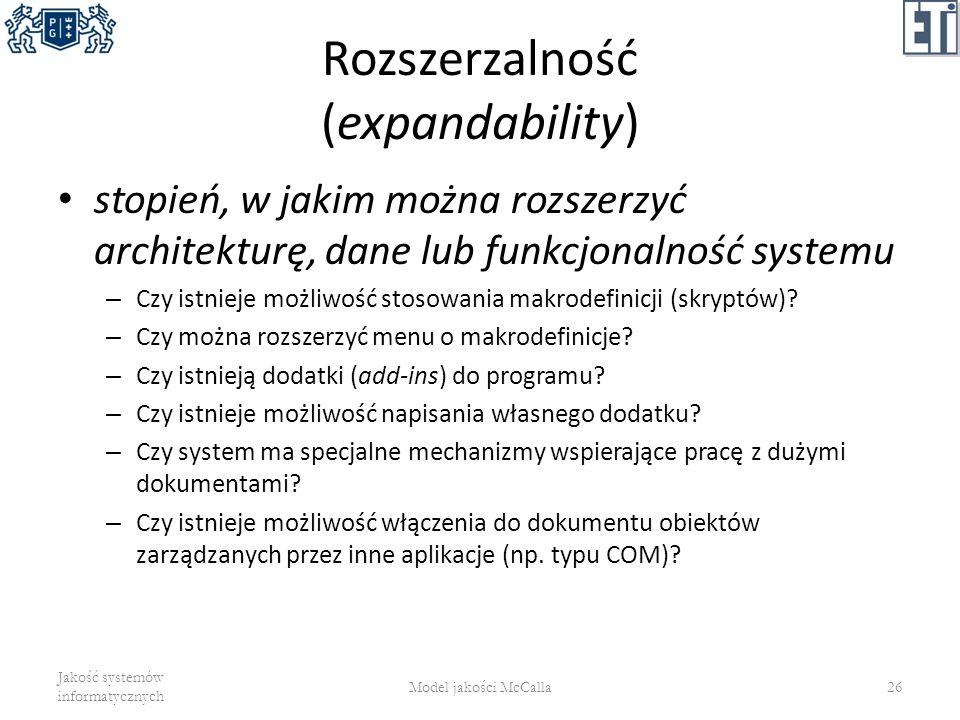 Rozszerzalność (expandability)