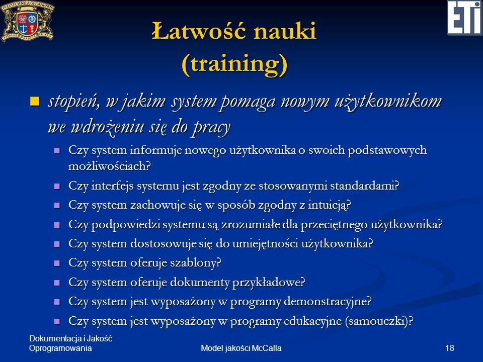 Łatwość nauki (training)