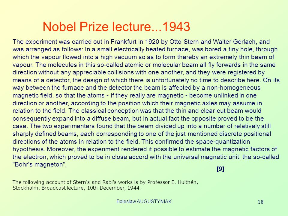 Nobel Prize lecture...1943