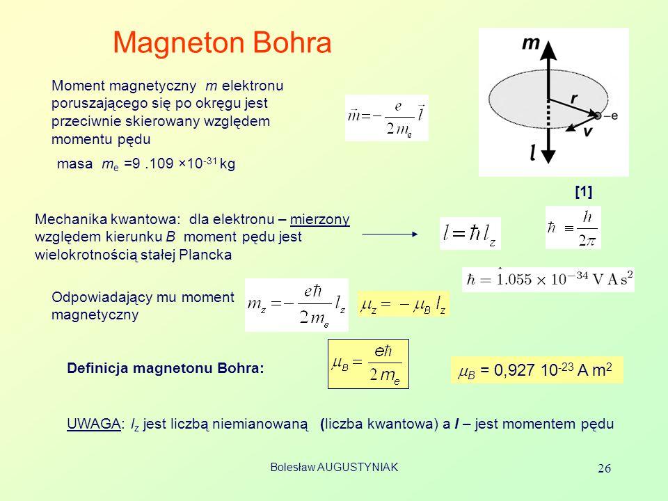 Magneton Bohra Moment magnetyczny m elektronu poruszającego się po okręgu jest przeciwnie skierowany względem momentu pędu.