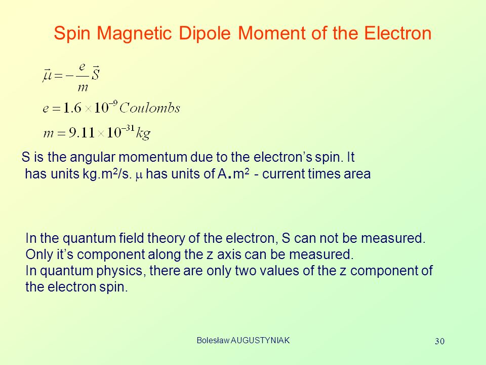 Spin Magnetic Dipole Moment of the Electron